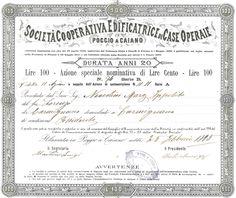 SOCIETA' COOPERATIVA EDIFICATRICE DI CASE OPERAIE IN POGGIO A CAIANO - #scripomarket #scriposigns #scripofilia #scripophily #finanza #finance #collezionismo #collectibles #arte #art #scripoart #scripoarte #borsa #stock #azioni #bonds #obbligazioni