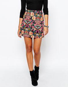Image 4 of River Island 60's Floral Print Mini Skirt
