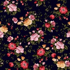 Seamless vector floral pattern with roses on black background Wall Mural - Vinyl ✓ Easy Installation ✓ 365 Day Money Back Guarantee ✓ Browse other patterns from this collection!