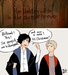 Best. HP/Sherlock Crossover. EVER. and i am in the same house as sherlock! booyah. - - choked on my tea