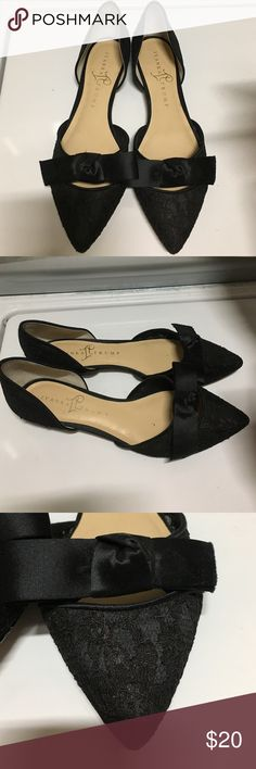 Black lace pointy toe flat worn once! Black lace flats with pointy toe and silk bow. Only worn once to a wedding! Ivanka Trump Shoes Flats & Loafers