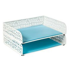 The Container Store > Brocade Stackable Letter Tray $14.99    Get 3.  One for incoming, One for outgoing, One for a ream of paper.