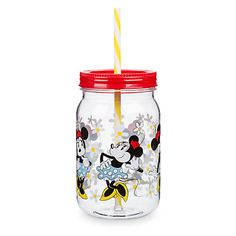 Minnie Mouse Jar with Straw
