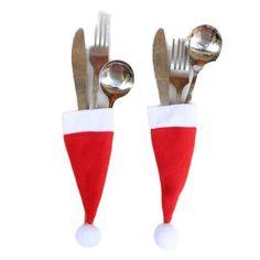 Christmas Decorative tableware Knife Fork Set  Christmas Hat #Unbranded