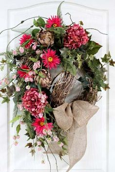 Spring/Summer Wreath, wildflower vines, ivy, pink, burlap bow