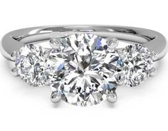 4.7CT Perfect Three Stone Journey Russian Lab Diamond Stainless Steel Engagement Anniversary Ring