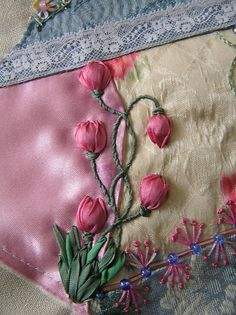 Tulips by Lin Moon, via Flickr embroidery crazy quilting