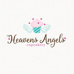 Cupcake Logo with Angel Wings Premade Logo by stylemesweetdesign