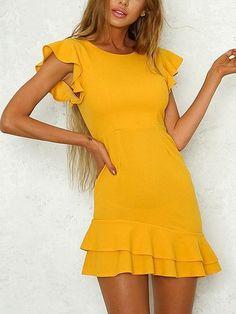 Mini Dresses - Yellow Elegant Lotus Leaf Sleeves Mini Dress Source by doloresbellordes - Yellow Dress Casual, Yellow Dress Summer, Summer Dresses, Elegant Dresses, Cute Dresses, Short Dresses, Mini Dresses, Dresses Dresses, Party Dresses