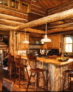 Rustic log home decor rustic cabin kitchens garden of planning a cabin in the woods rustic . rustic log home decor rustic log cabin Rustic Cabin Kitchens, Log Home Kitchens, Rustic Kitchen Cabinets, Rustic Kitchen Design, Eclectic Kitchen, Rustic Houses, Cozy Kitchen, Kitchen Island, Kitchen Decor