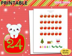 Christmas Countdown Printable Planner Stickers - Erin Condren - Filofax - Happy planner - Organizing printable stickers - xmas stickers