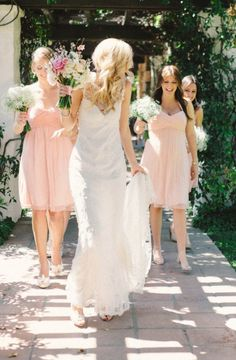 Lace and Blush Wedding and bridesmaid gowns @Rochelle Weeks Joan