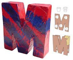 Art Projects for Kids: Paper Mache Letter art club? Cardboard Letters, Paper Mache Letters, 3d Letters, Letter Art, Giant Letters, Large Letters, 3d Art Projects, Paper Mache Projects, School Art Projects