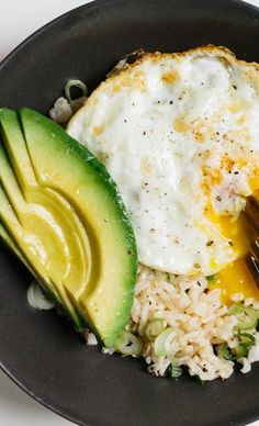 brown rice, fried egg, avocado