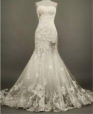 Custom Lace White/Ivory Wedding Dress Bridal Gown Ball Size 2-4-6-8-10-12-14++++