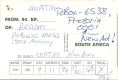 The Backside of QSL  from South Africa