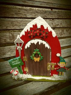 Hand-painted, wooden, hinged fairy doors on offer. All custom-made and available in your choice of s. Christmas Fairy, Christmas Makes, Christmas Door, Christmas Projects, Christmas Crafts, Christmas Decorations, Christmas Ornaments, Diy Fairy Door, Fairy Doors