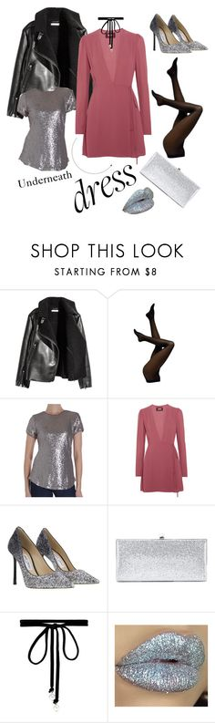 """Rockin' with pink, black and glitter! 😝🤘🏼🎸🎀"" by nicole-violi ❤ liked on Polyvore featuring H&M, Humble Chic, Reformation, Jimmy Choo, Joomi Lim and longsleeve"