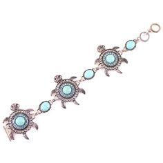 Lovely Turquoise Tortoise Design Chain Bracelet with Crystal Women Ladies Jewelry Bracelet