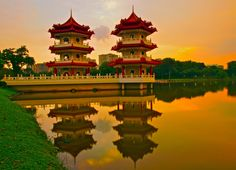 Chinese Garden in Singapore  Twin Pagoda Reflection