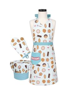 Child's Apron, Chef Hat and Baking Mitt Set - Milk and Cookies Design *** For more information, visit now : Kids Baking Supplies