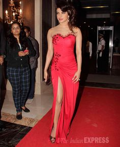 Priyanka Chopra in a red gown with a hint of shimmer at the Hello! Hall Of Fame Awards. #Bollywood #Style #Fashion #Beauty