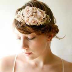 pink rose flower crown 'BOTANICA' bridal head piece by whichgoose, etsy