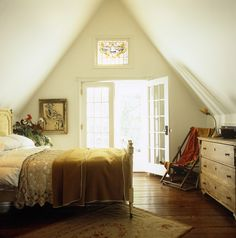 white country bedroom ~wooden floor~white walls~french doors