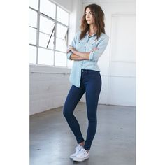Bullhead Denim Co. Brie Blue Mid Rise Jeggings ($50) ❤ liked on Polyvore featuring pants, leggings, blue pants, long leggings, slimming leggings, short leggings and mid rise jeggings