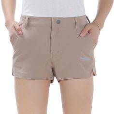 """Makino Womens Hiking Short Casual Pants Lightweight Quick Dry Gear (Khaki, Waist 31""""). For product & price info go to:  https://all4hiking.com/products/makino-womens-hiking-short-casual-pants-lightweight-quick-dry-gear-khaki-waist-31/"""