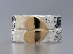 Heart Wedding Band Set in 14k Gold and Sterling by LichenAndLychee, $260.00
