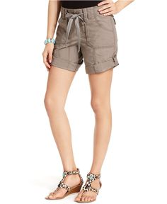 INC International Concepts Shorts, Drawstring Cargo - Womens Shorts - $44.50