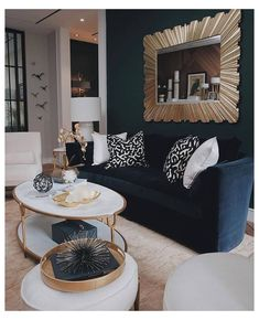 Blue And Gold Living Room, Navy Living Rooms, Blue Living Room Decor, Glam Living Room, Home And Living, Living Room Designs, Mirrors For Living Room, Blue Living Room Furniture, Gold Wallpaper Living Room