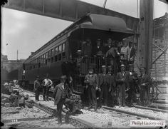 Philadelphia & Reading Railroad - 1899 Philadelphia & Reading Railroad - 1899  TRANSIT: Workers and officials at the Philadelphia & Reading Railroad - First Train through the subterranean tunnels terminating at the Reading depot in Philadelphia, 1899.