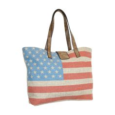 Vintage American Flag Jute Canvas Tote Bag - Large Shoulder Bag Handbag Shopper. Large Vintage American Flag Tote Bag with distressed finishes and soft pleather accents. Double handle straps have a 10in. drop to wear comfortably over the shoulder with zip top closure. Lined in a trendy mandala style fabric; Interior features two slip pockets and a zippered pocket. Generous size makes it the seamlessly versatile bag for school, work, baby, gym, and everyday life. Measures 20in. wide X…