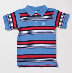 Toddler Boys Short Sleeve Polo with Small Horse Embroidery