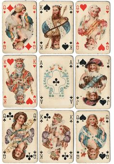 Vintage Inspired Early 20's Playing Cards Tags ATC Altered Art Set of 8 | eBay