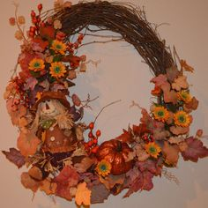 Fall Wreath Harvest Wreath Scarecrow Wreath by TheBloomingWreath, $74.99