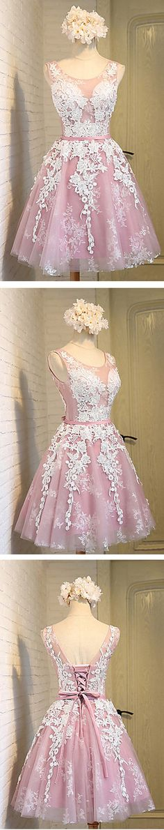 Off shoulder scoop neckline see through short pink homecoming prom dresses, CM0025