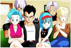 Cute family portrait. Vegeta's family!  Idk how I feel about his short hair tho #dbz