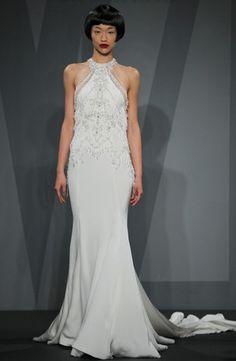 Mark Zunino - High Neck Sheath Gown in Silk Crepe Looooooove this dressssss!!!!