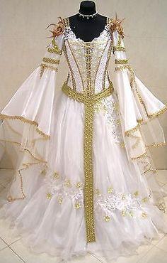 Gold Medieval Wedding Dress Victorian Goth Renaissance 12 14 16 s M L Prom Robe | eBay