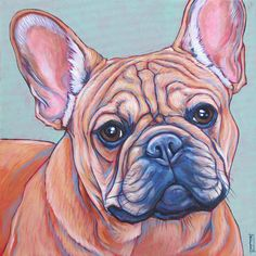 """Davis the French Bulldog on Mint Green Custom Dog Pet Portrait Painting Acrylic Paint on 12"""" x 12"""" Canvas from Pet Portraits by Bethany"""