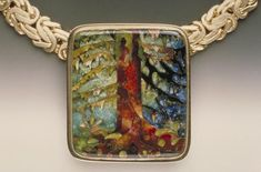Linda Lundell enamel cloisonne jewelry.  Such detail-this is not painted on porcelain. It is applied powder on metal base and then fired.
