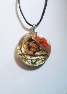 Real Moth Orange Flowers Green Moss Nature Pendant Resin Necklace Bohemian Jewelry tree twig at https://www.etsy.com/listing/286178437/real-moth-orange-flowers-green-moss-tree