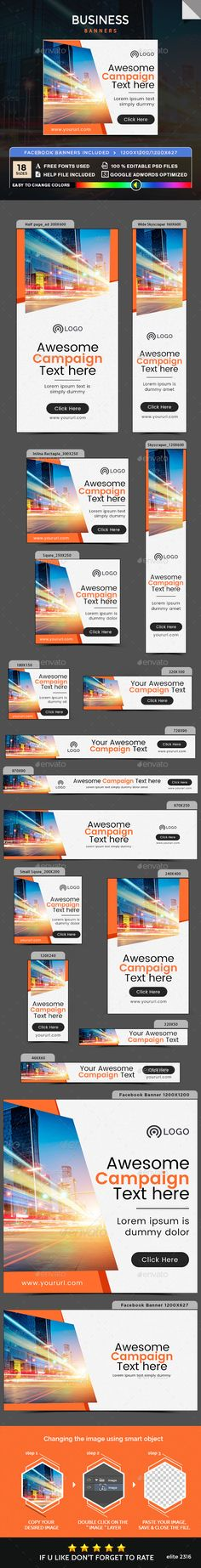 Business Banners — Photoshop PSD #banner pack #marketing • Available here → https://graphicriver.net/item/business-banners/20056266?ref=pxcr