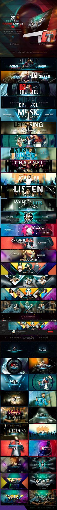 YouTube Bundle - 20 Music & DJ Banners - YouTube Social Media Social Media Detox, Social Media Content, Social Media Graphics, Youtube Banner Template, Youtube Banners, Social Media Branding, Social Media Design, Banners Music, Web Banners