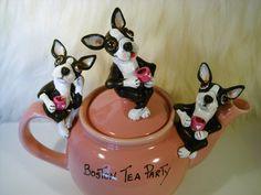 Boston Terrier Tea Party Valentines Day Pet Lovers by SamsFurKids,