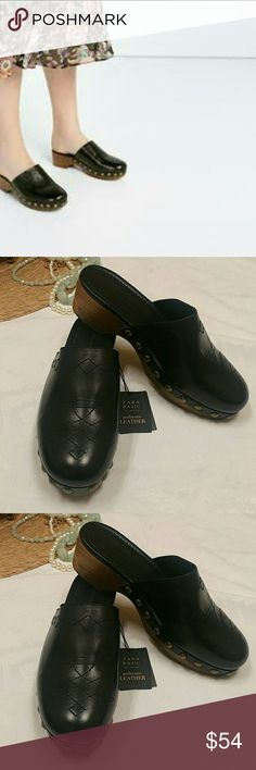ffe4e11e821 NWT ZARA Wooden  leather Clogs size 9 JUST IN TIME FOR SPRING!!! NWT ZARA  Wooden  leather Clogs   brass studs along front side of shoe Approx.