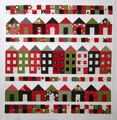 """Full house pattern by Carrie Nelson for Miss Rosie's Quilt co., fabric countdown to christmas by sweet water - cupcakes """"n daises; town house pattern free"""